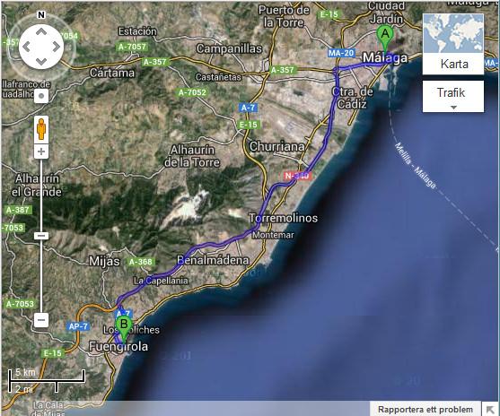Vägbeskrivning från Malaga